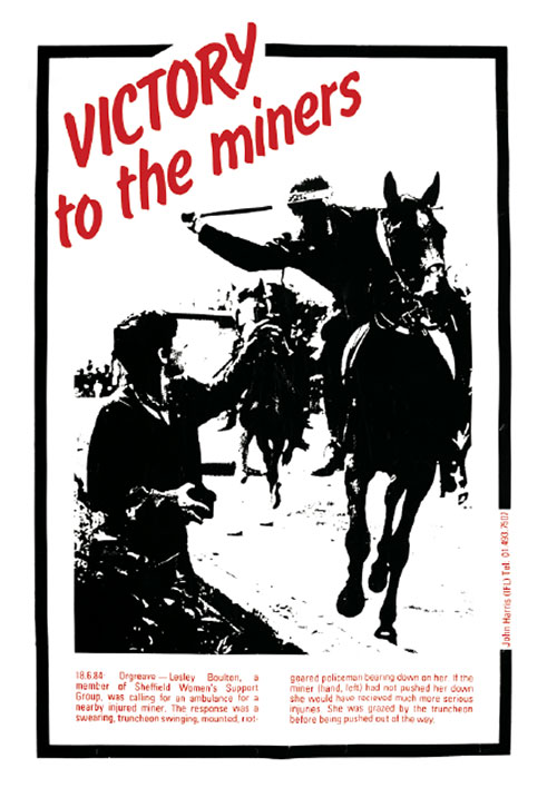 "Black and red ""Victory to the Miners"" poster"