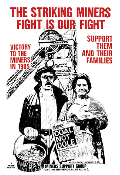 Black and red Hammersmith & Fulham Miners Support Group poster.