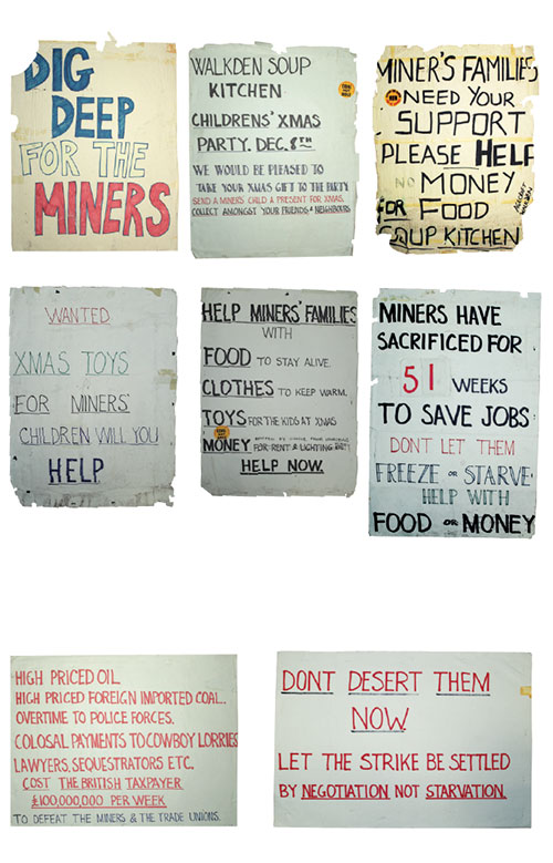 Various paper signs.